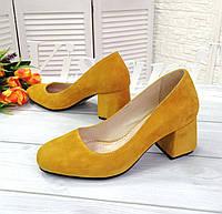 Желтые замшевые туфли на каблуке, фото 1