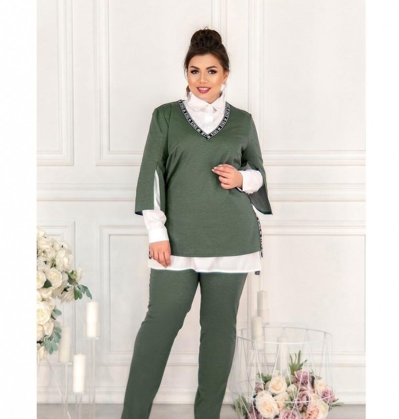 Стильный костюм-тройка большого размера в стиле casual №782-темно зеленый