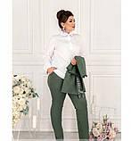 Стильный костюм-тройка большого размера в стиле casual №782-темно зеленый, фото 2