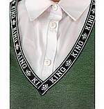 Стильный костюм-тройка большого размера в стиле casual №782-темно зеленый, фото 4