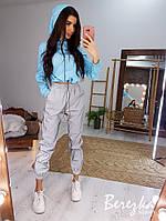 Женский спортивный костюм со светоотражающими штанами и укороченным бомбером 66SP837Q, фото 1
