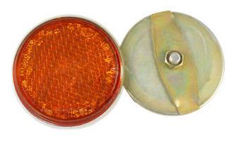 Катафот круглый на гайке оранжевый, крепление на спицы