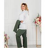 Стильный костюм-тройка большого размера в стиле casual №782СБ-темно зеленый, фото 2