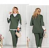Стильный костюм-тройка большого размера в стиле casual №782СБ-темно зеленый, фото 3