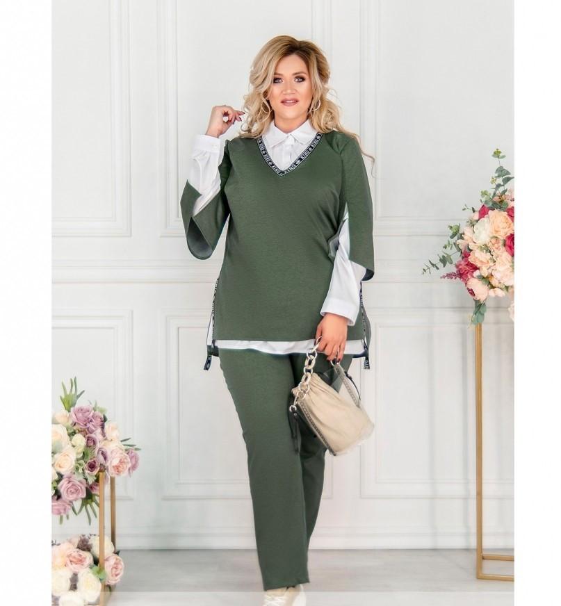 Стильный костюм-тройка большого размера в стиле casual №782СБ-темно зеленый