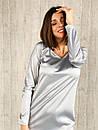 Шелковое платье прямого кроя с декором перья по низу 14py870, фото 2