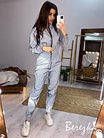 Женский светоотражающий спортивный костюм с бомбером на молнии 66so839Q