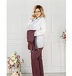 Стильный костюм-тройка большого размера в стиле casual №782СБ-бордо, фото 2