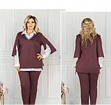 Стильный костюм-тройка большого размера в стиле casual №782СБ-бордо, фото 3