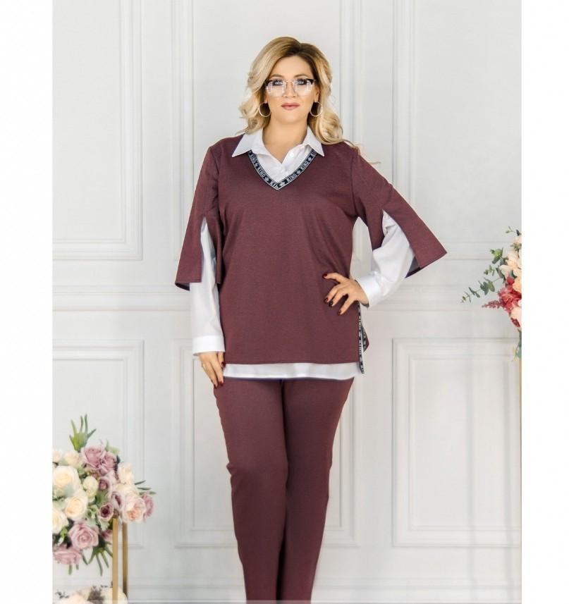 Стильный костюм-тройка большого размера в стиле casual №782СБ-бордо