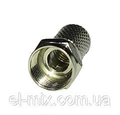 """Штекер F d6.5мм RG6, накрутка, L-18мм, """"цинк""""  1-0614"""