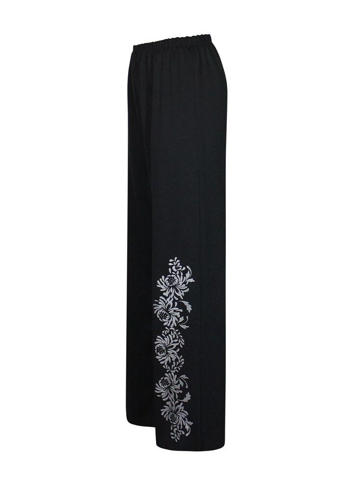 Черные трикотажные брюки Хризантемы / размер до 64+ / женские /