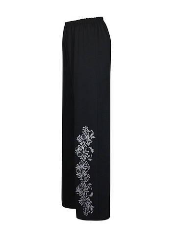 Черные трикотажные брюки Хризантемы