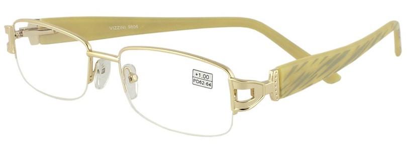 Очки с диоптриями для близи, для чтения, женские, металлические, отличного качества, на флексах, Vizzini