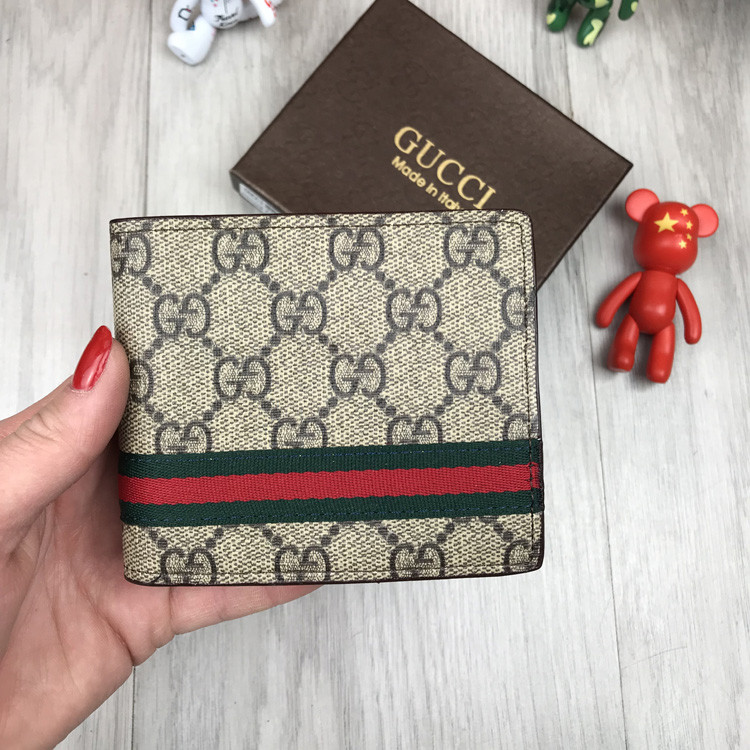 Трендовый мужской кошелек Gucci коричневый Премиум Качество бумажник Стильный VIP Модный Гуччи копия