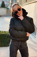Женская весенняя осеняя короткая куртка силикон черная,красная,бежевая, белая, горчица 42 44 46 7км