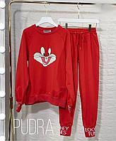 Женский спортивный костюм с накатом бежевый серый красный 42 44 46 48