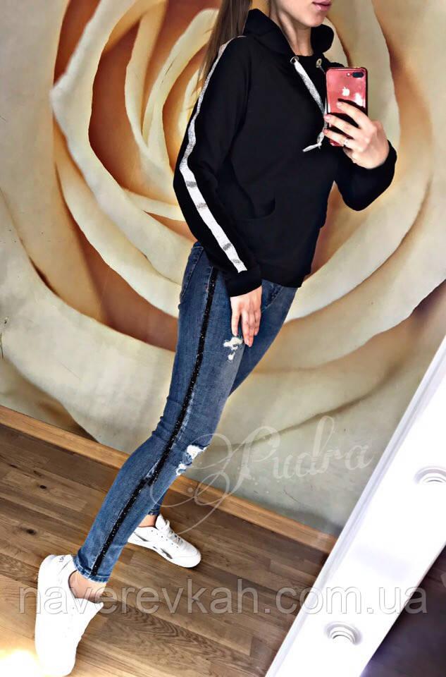 Женская кофта с капюшоном и карманом черный 42-46