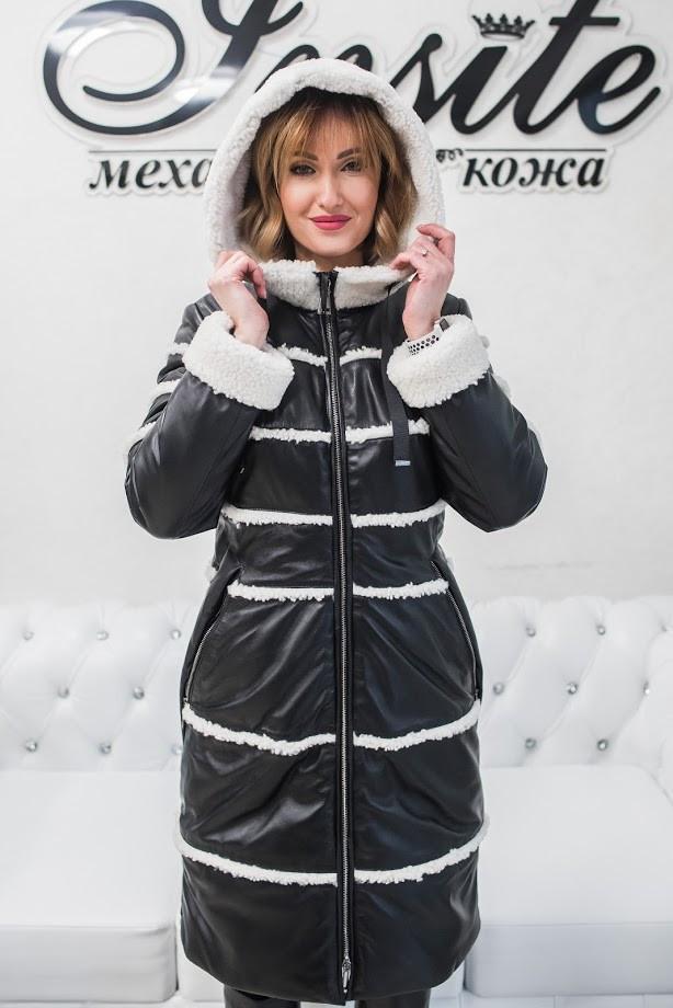 Утепленная Куртка-Пуховик с Белым Мехом Овчины 016ТП