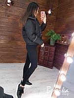 Короткая демисезонная женская куртка бомбер на молнии с капюшоном 66mku243E
