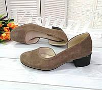 Замшеві туфлі на підборах 4 см, фото 1