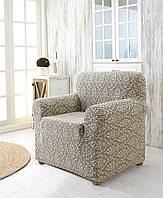 Жаккардовый чехол на кресло бежевого цвета