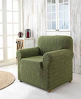Жаккардовый чехол на кресло зеленого цвета