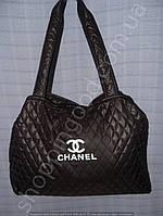 Cумка Chanel 013408 черная с белым из текстиля женская спортивная