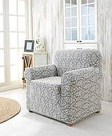 Жаккардовый чехол на кресло серого цвета