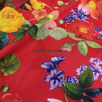 Французский трикотаж красный с цветочным принтом, фото 2