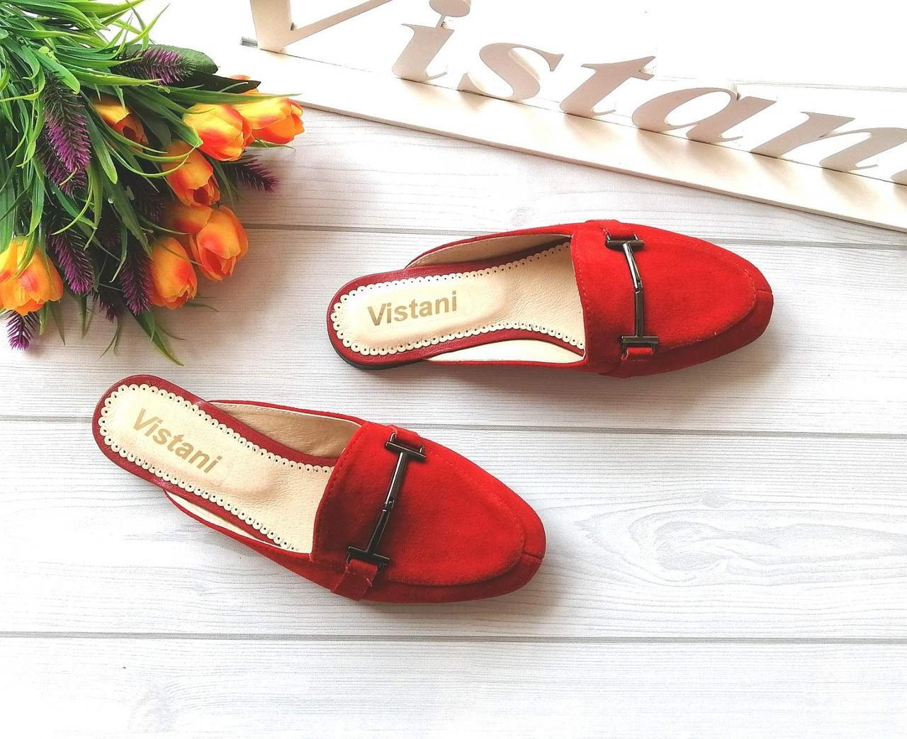 Красные женские мюли из натуральных материалов