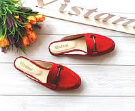 Красные женские мюли из натуральных материалов, фото 1