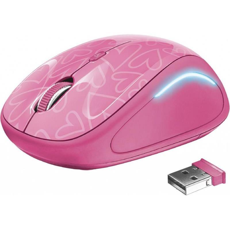 Мышь беспроводная Trust Yvi FX (22336) Pink USB