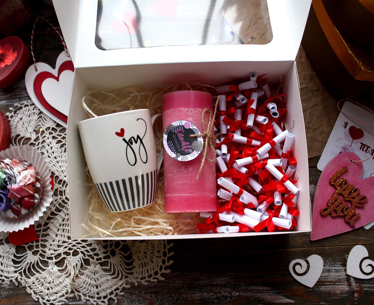 """Коробочка """"51 причина, почему я тебя люблю"""" + чашка, аромасвечи"""