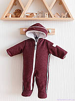 Кашемировый зимний комбинезон для новорожденных, марсала, фото 1