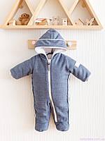 Кашемировый комбинезон конверт для новорожденных зимний, синий, фото 1