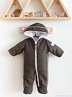 Кашемировый комбинезон детский зимний для новорожденных, хаки, фото 1