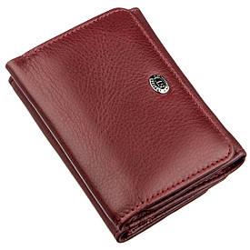Компактный женский бумажник на кнопке ST Leather 18885 Темно-красный, Темно-красный