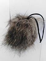 Брелок на сумочку зі штучного хутра. Сірий.