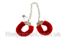 Металлические наручники с мехом на длинной цепочке (розовые, красные) Качество!, фото 2