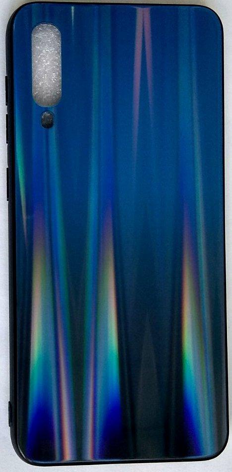 "Силиконовый чехол ""Стеклянный Shine Gradient"" Samsung A505 / A50 / A307 / A30S (Deep blue) # 10"
