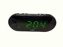 Часы в сеть VST-717 зеленые цифры