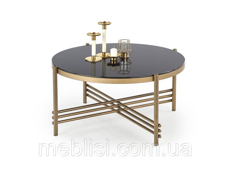 Журнальний стіл ISMENA чорний/золотий (80х41) Halmar