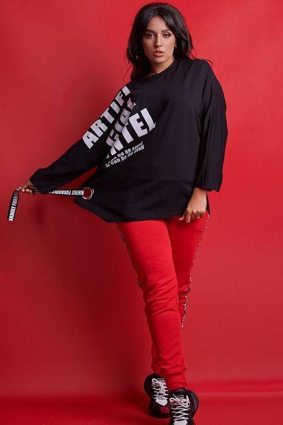 Стильный женский прогулочный костюм больших размеров 50-56 красный-черный