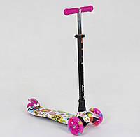 Самокат BEST SCOOTER Maxi розовый с цветами