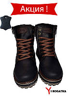 Мужские зимние кожаные - крейзи ботинки, MISHEL, черные, прошитые коричневая пятка
