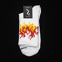 Довгі шкарпетки Пушка Огонь Round біло-жовті, фото 1