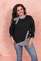 Черная женская теплая кофточка-туника из ангоры с серыми ввставками супер-батал р.56-62. Арт-1021/11