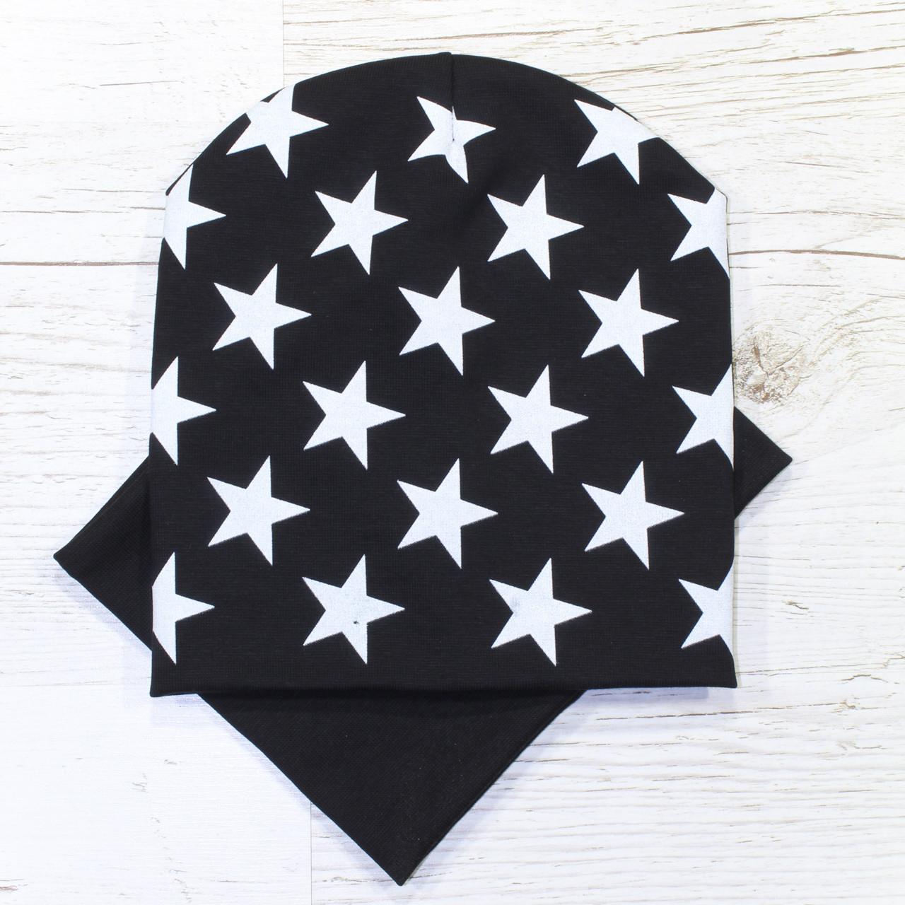 Детская трикотажная шапка чулок комплект черный 52-56р.