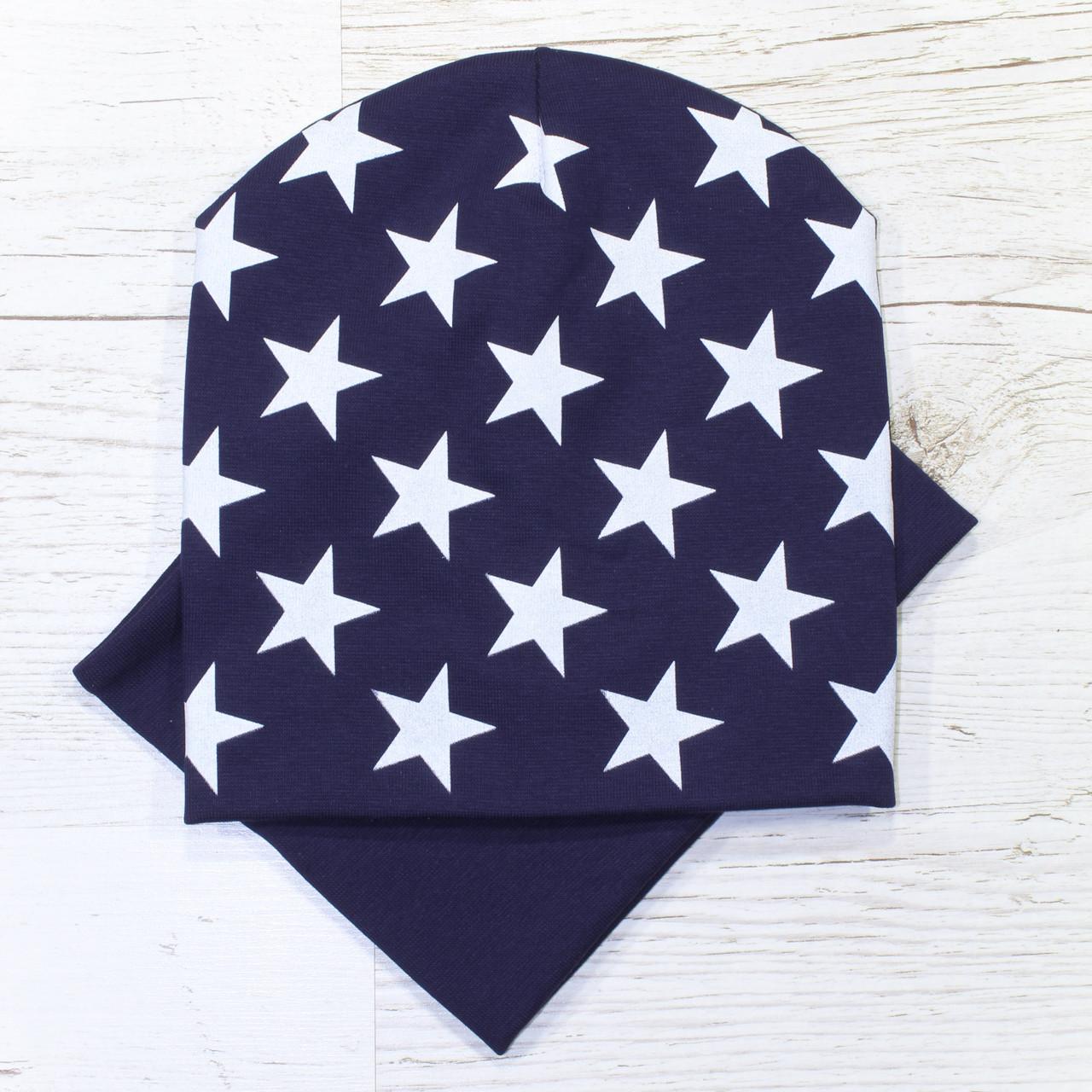 Молодежная двойная Звезды Комплект шапка и хомут т.синий 52-56р.